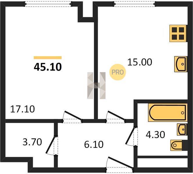 1-комнатная квартира в ЖК Level Амурская