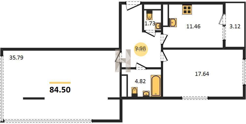 2-комнатная квартира в ЖК Нормандия