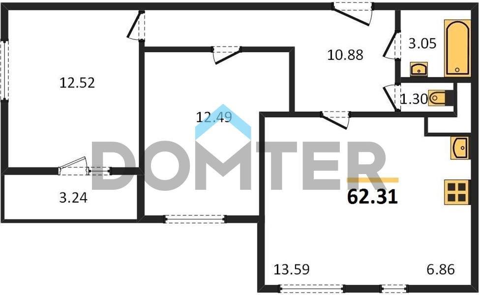 2-комнатная квартира в ЖК Пригород лесное
