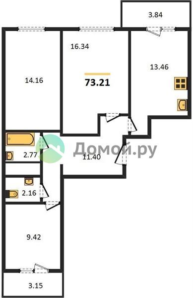 3-комнатная квартира в ЖК Мир митино