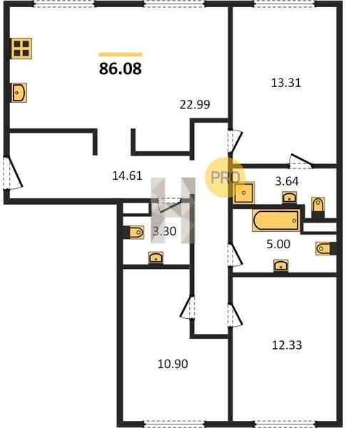 3-комнатная квартира в ЖК Селигер Сити