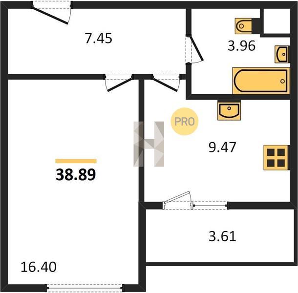 1-комнатная квартира в ЖК Преображение