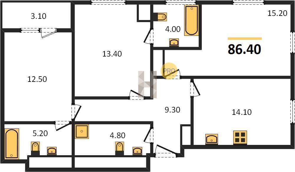 3-комнатная квартира в ЖК Пресня Сити