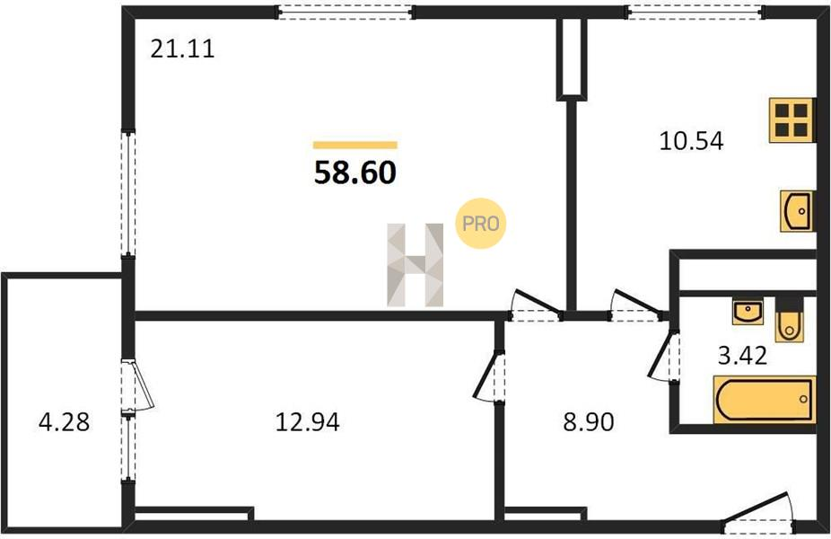 2-комнатная квартира в ЖК Одинбург