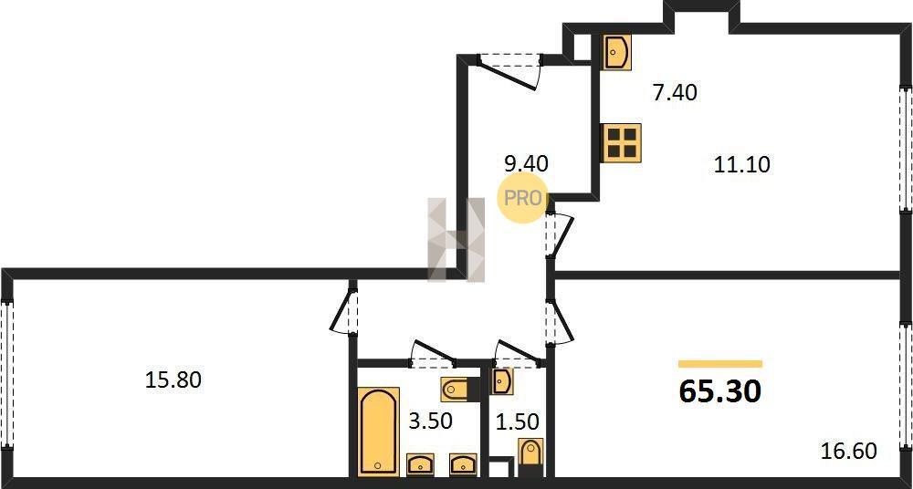 2-комнатная квартира в ЖК Испанские кварталы